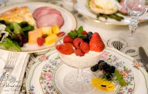 Colorful display of breakfast food on fine china