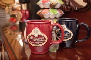 Deneen Pottery mugs on the guest 24/7 beverage and snack buffet