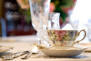 Formal china and crystal in a place setting tablescape