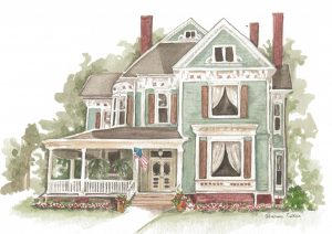 watercolor painting of a blue Victorian mansion