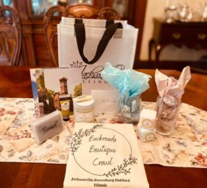 Backroads Boutique Crawl swag bag and contents