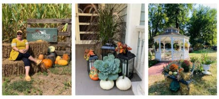 three pictures with pumpkins and fall decor