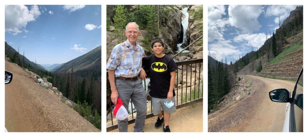 trio of pictures of Rocky Mountains with boy and man by waterfall