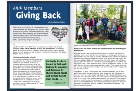AIHP article talking about the hosts of Blessing on State Bed & Breakfast