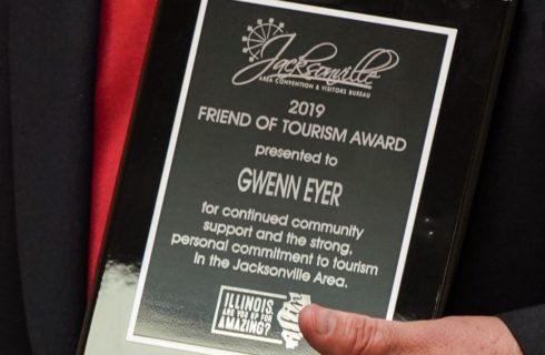Close up view of a 2019 Friend of Tourism award to Gwenn Eyer